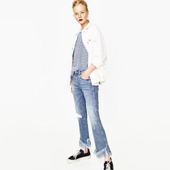 f3e0c612 Zara Jeans | Mid Rise Mini Flare Shredded Hem | Poshmark